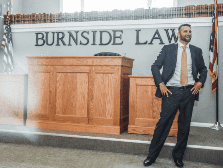 Jeremy Burnside in the Burnside Law, LLC mock trial room